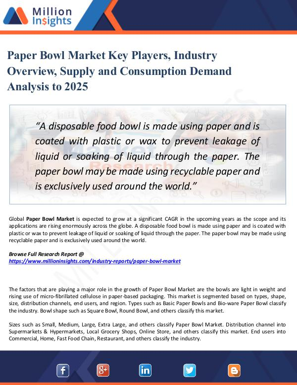 Market Share's Paper Bowl Market Key Players, Industry Overview