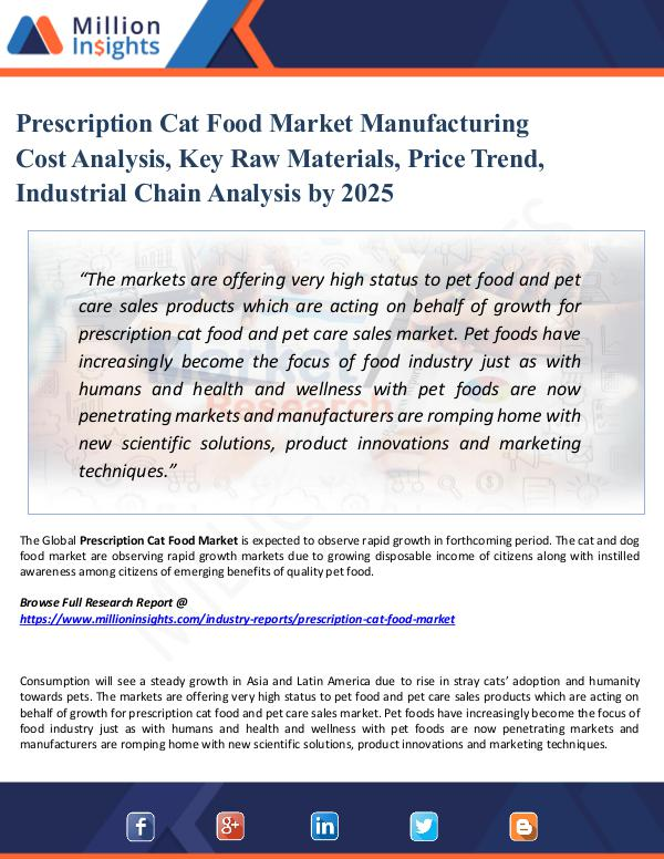 Market Share's Prescription Cat Food Market Manufacturing Cost