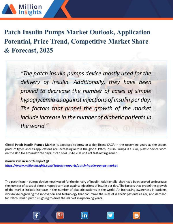 Market Share's Patch Insulin Pumps Market Outlook, Application