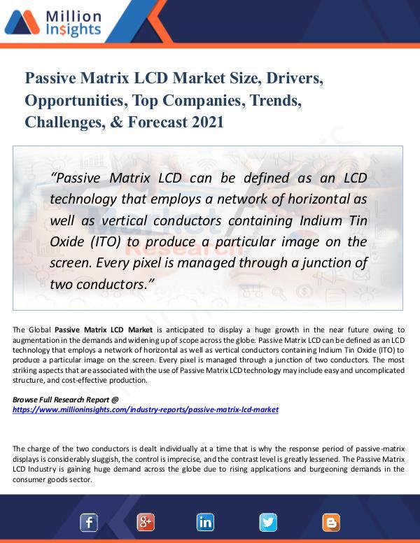 Passive Matrix LCD Market Size, Drivers, 2021