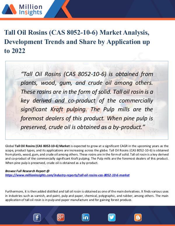 Tall Oil Rosins (CAS 8052-10-6) Market Analysis