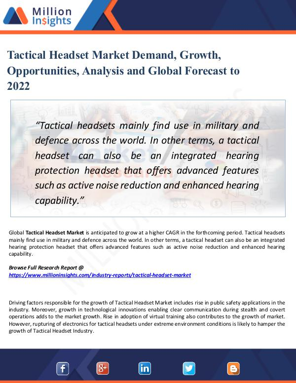 Tactical Headset Market Demand, Growth, by 2022