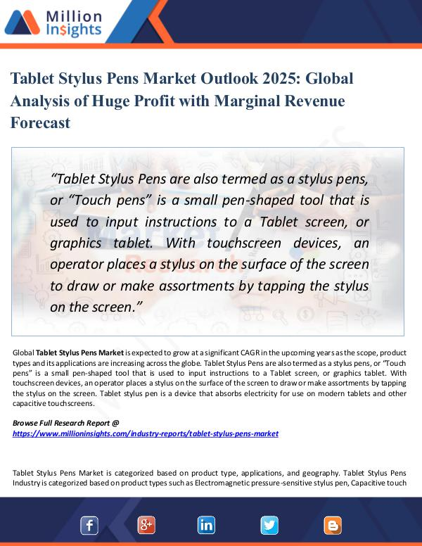 Tablet Stylus Pens Market Outlook 2025-Report