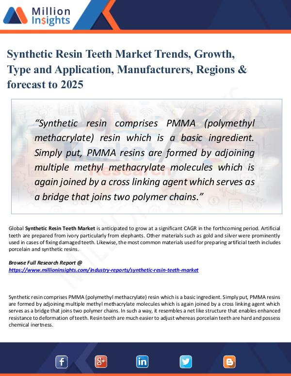 Synthetic Resin Teeth Market Trends, Growth, Type