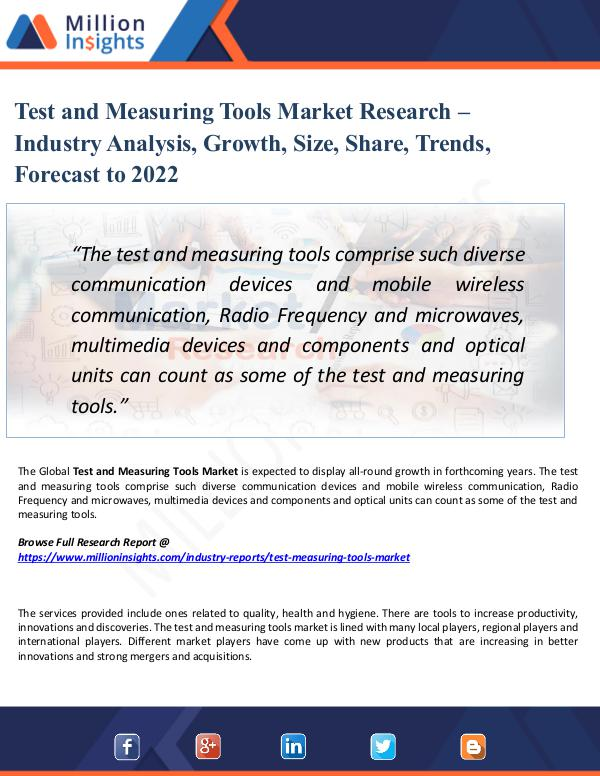 Test and Measuring Tools Market Research – 2022