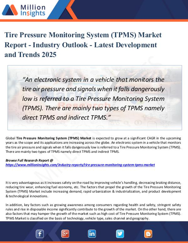 Tire Pressure Monitoring System (TPMS) Market 2025