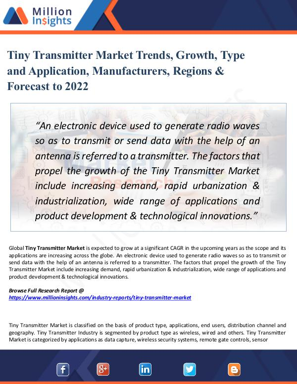 Tiny Transmitter Market Trends, Growth, Type 2022
