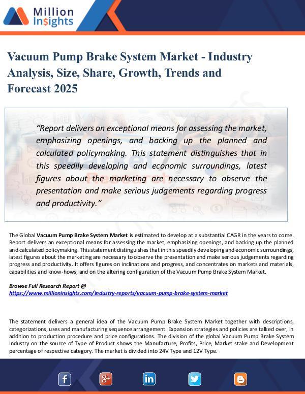 Market Share's Vacuum Pump Brake System Market Analysis by 2025