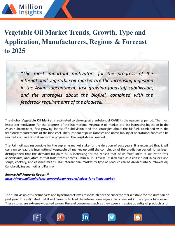 Vegetable Oil Market Trends, Growth, Type 2025