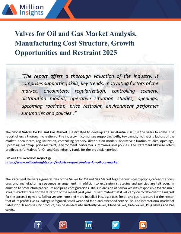 Valves for Oil and Gas Market Analysis, Manufactur