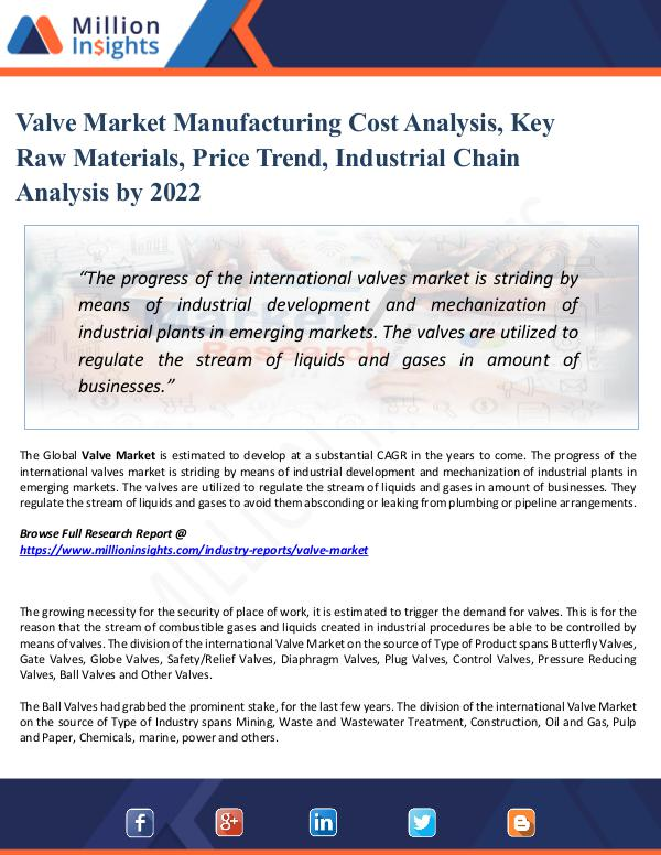 Market Share's Valve Market Manufacturing Cost Analysis, by 2022