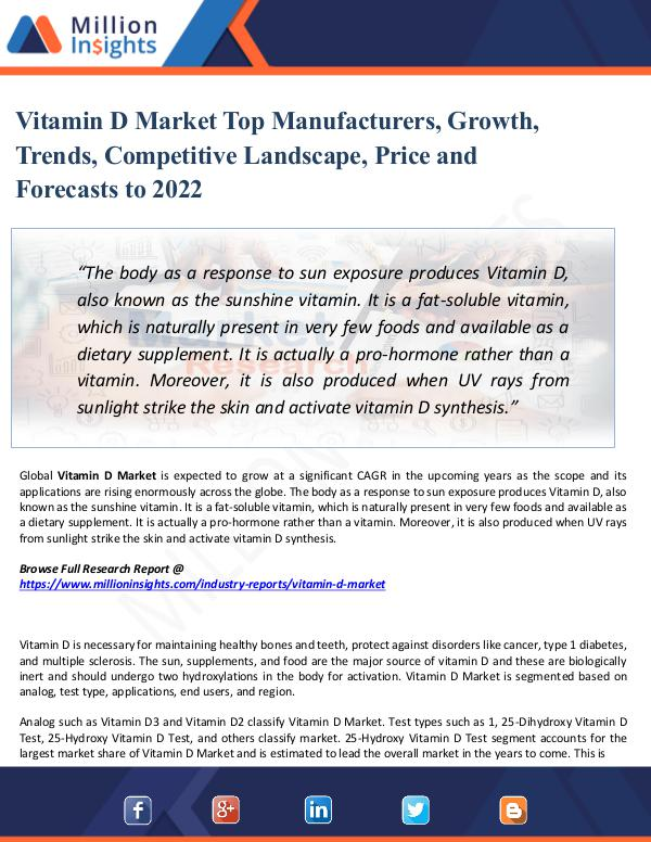 Market Share's Vitamin D Market Top Manufacturers, Growth, Trends