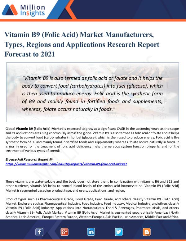Market Share's Vitamin B9 (Folic Acid) Market Manufacturers, Type