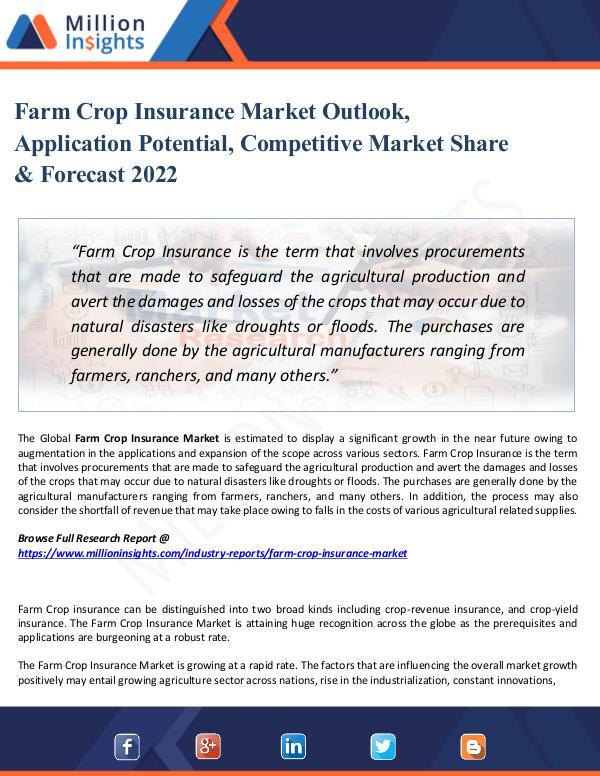 Farm Crop Insurance Market Outlook, Application