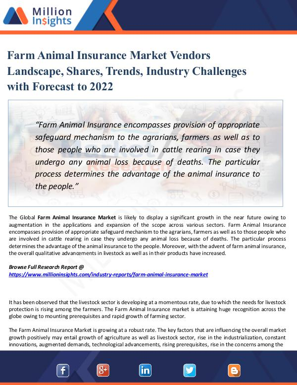 Farm Animal Insurance Market Vendors Landscape,
