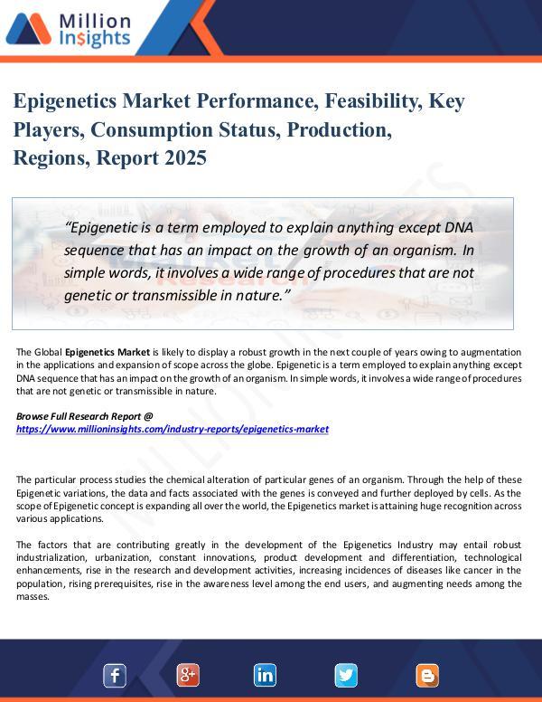 Epigenetics Market Performance, Feasibility, Key