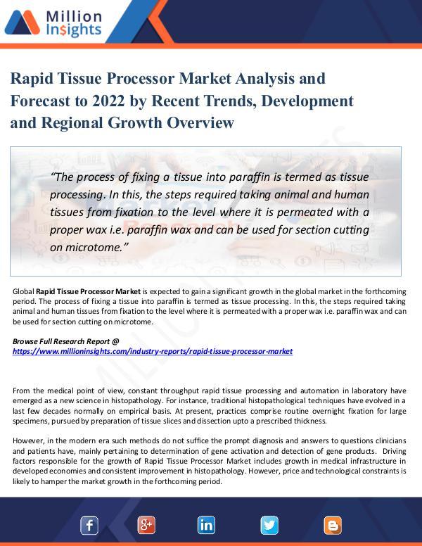 Rapid Tissue Processor Market Analysis 2022