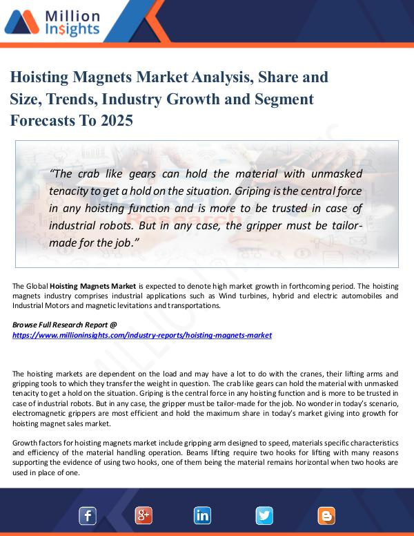 Hoisting Magnets Market Analysis, Share and Size,