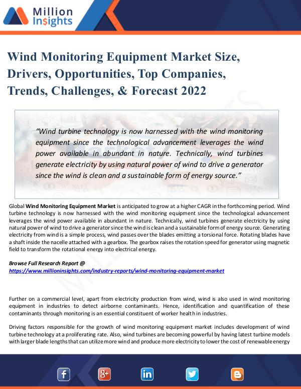 Market Share's Wind Monitoring Equipment Market Size, Drivers