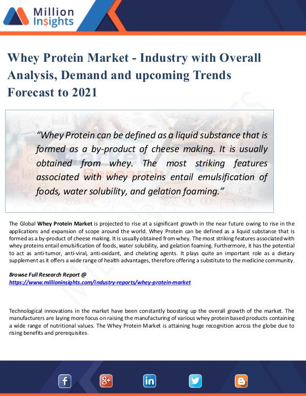 Market Share's Whey Protein Market - Industry Report 2021