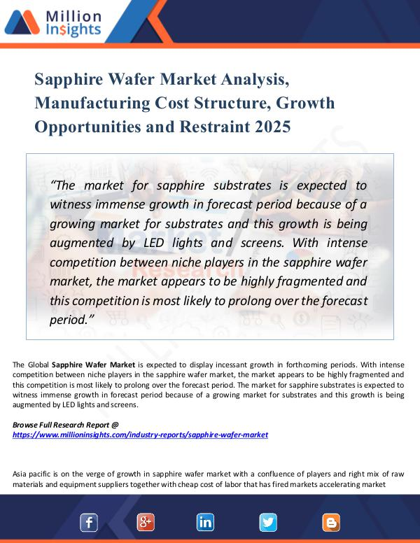 Sapphire Wafer Market Analysis, Manufacturing Cost