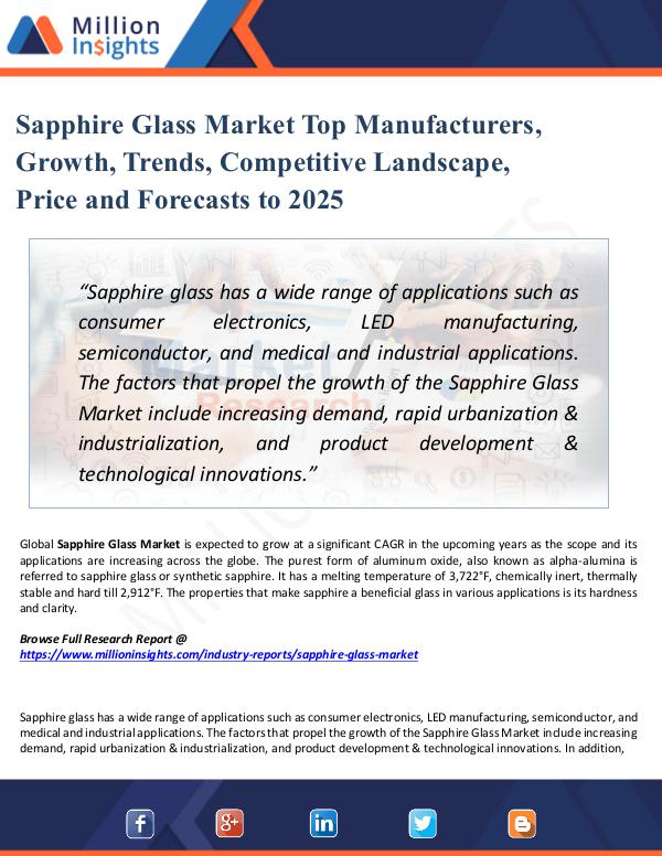 Sapphire Glass Market Top Manufacturers, Growth,