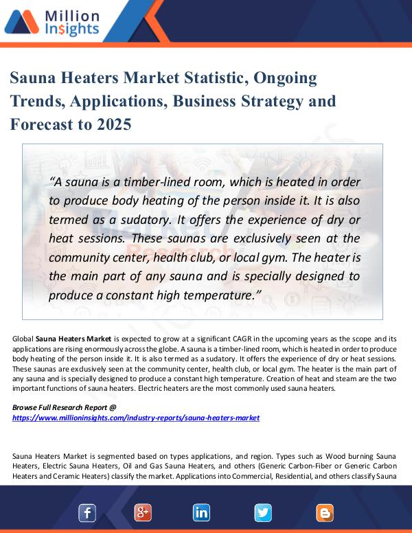 Sauna Heaters Market Statistic, Ongoing Trends