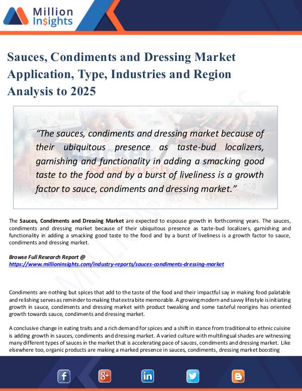 Sauces, Condiments and Dressing Market Application