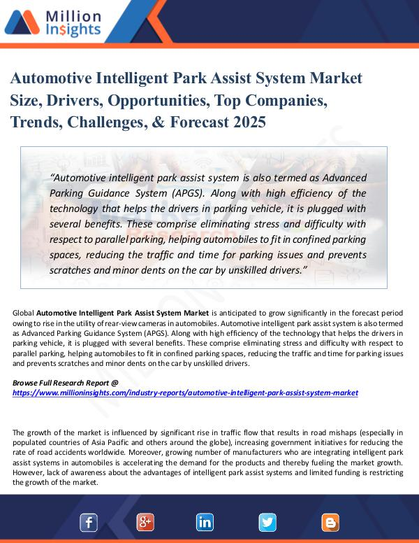 Market Share's Automotive Intelligent Park Assist System Market