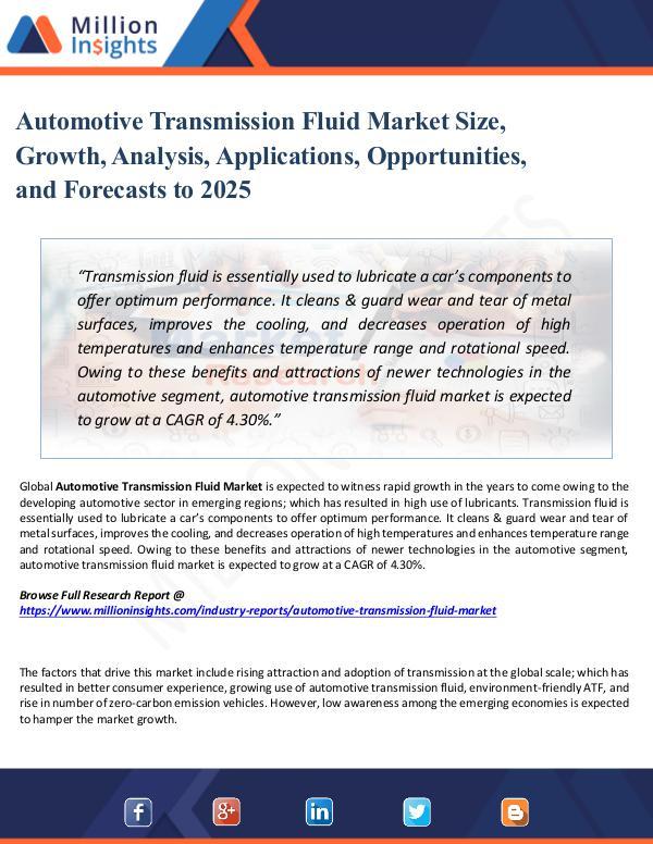 Automotive Transmission Fluid Market Size, Growth