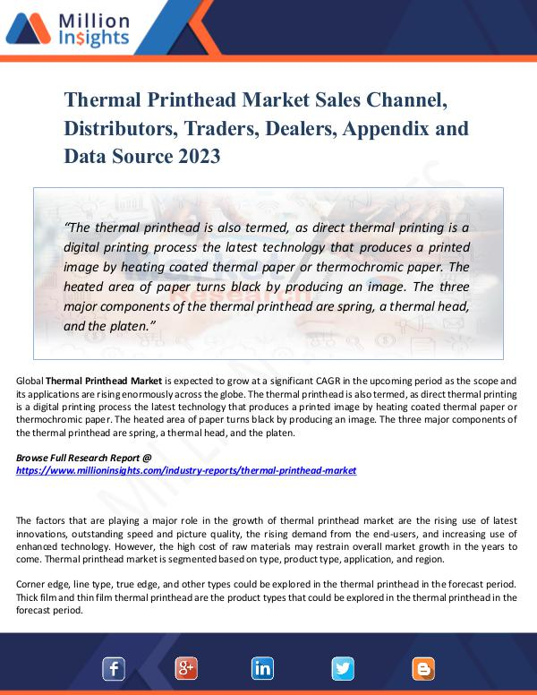 Thermal Printhead Market Sales Channel, Report