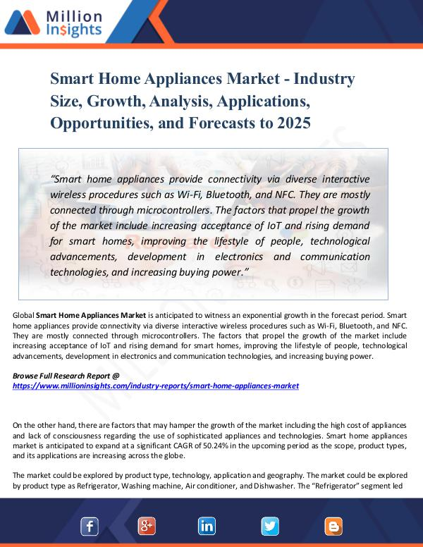 Smart Home Appliances Market - Industry Size, 2025