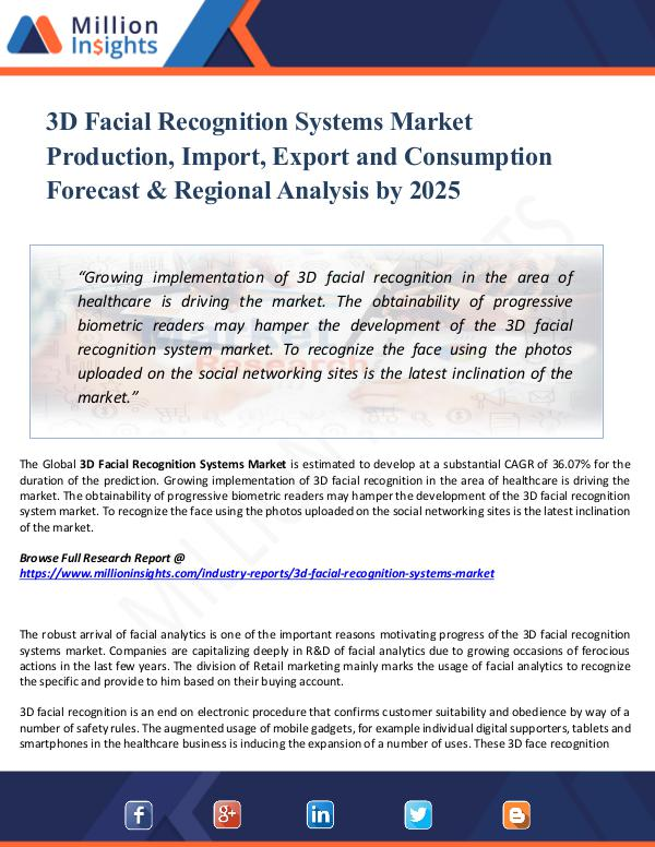3D Facial Recognition Systems Market Production, I