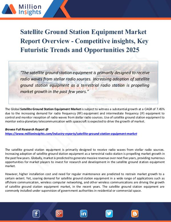 Satellite Ground Station Equipment Market Report