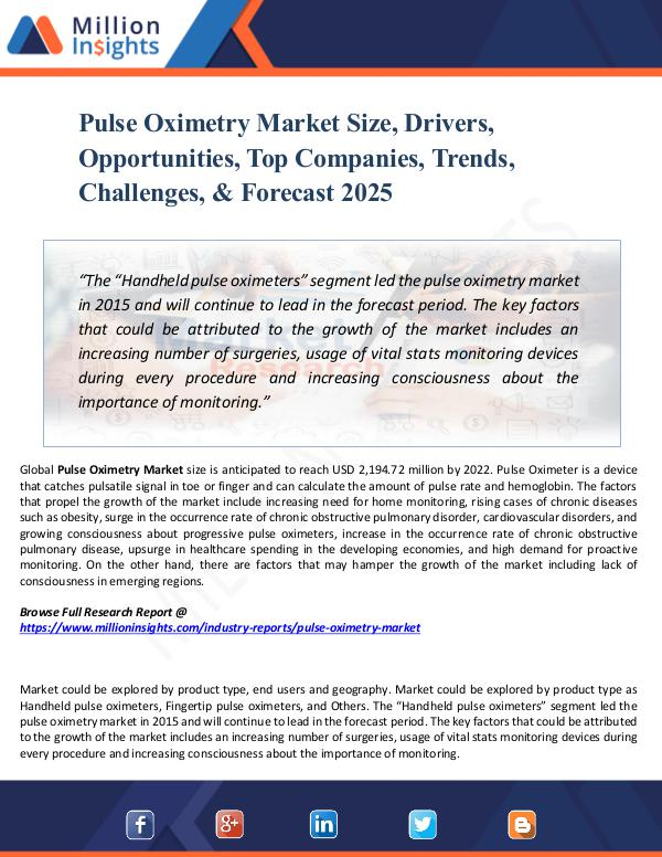 Pulse Oximetry Market Size, Drivers, Opportunities