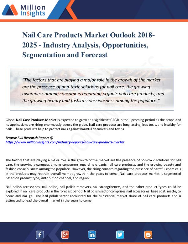 Market Share's Nail Care Products Market Outlook 2018-2025  Share