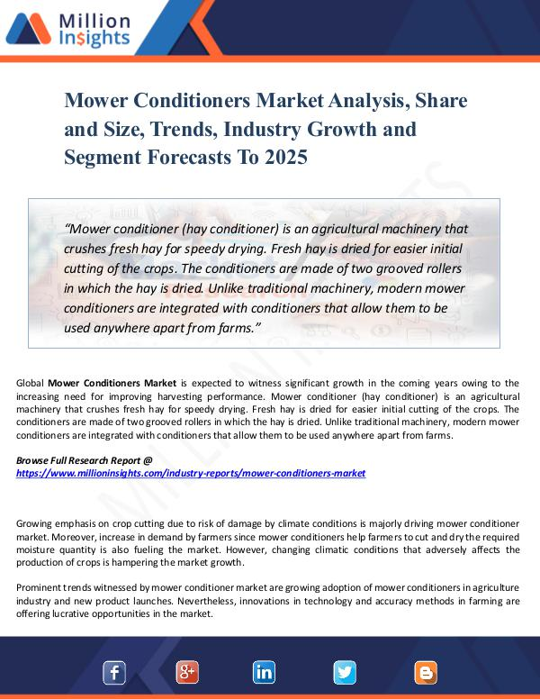 Market Share's Mower Conditioners Market Analysis, Share and Size