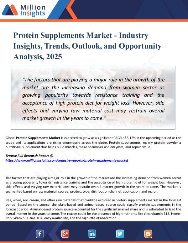 Protein Supplements Market - Industry Insights,