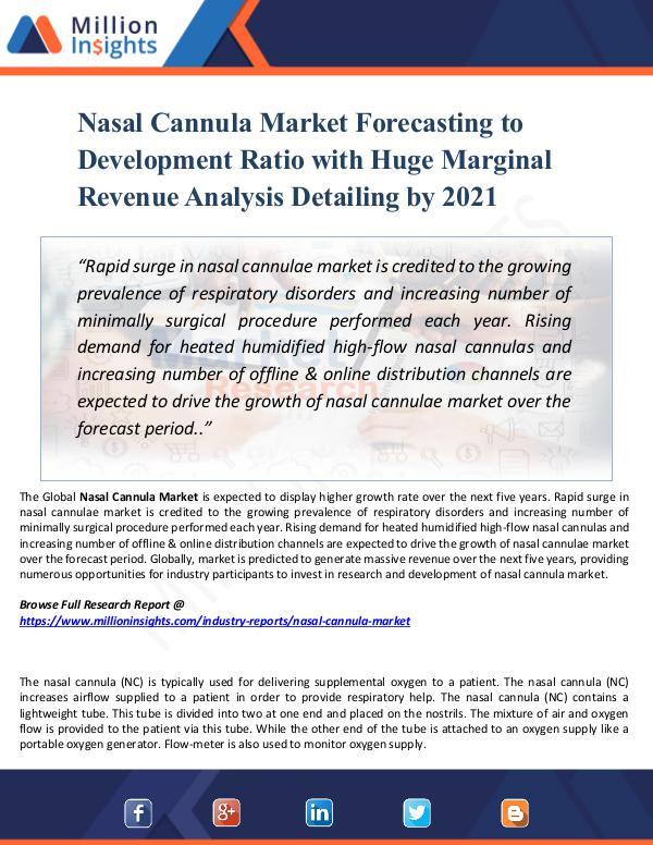 Market Share's Nasal Cannula Market Forecasting to Development