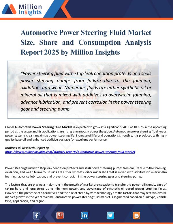 Market New Research Automotive Power Steering Fluid Market Size, Share