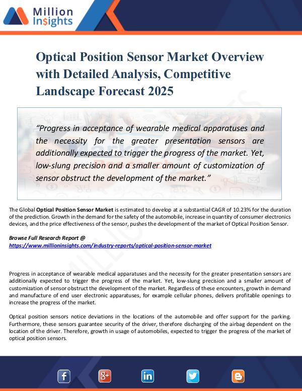 Market New Research Optical Position Sensor Market Overview with 2025