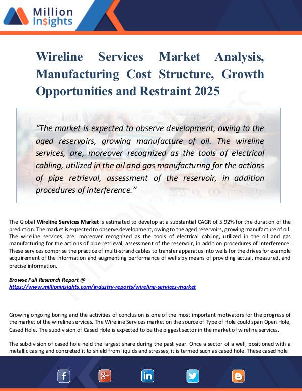 Market New Research Wireline Services Market Analysis, Manufacturing