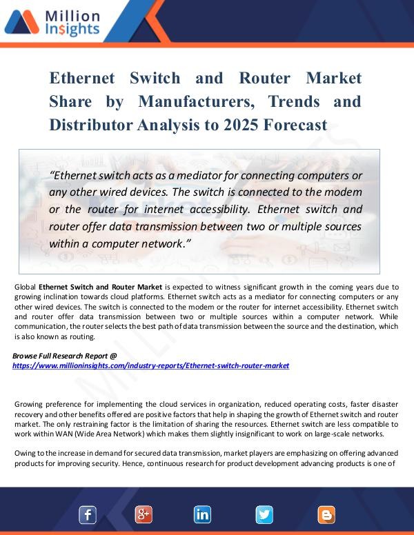 Ethernet Switch and Router Market Share by 2025