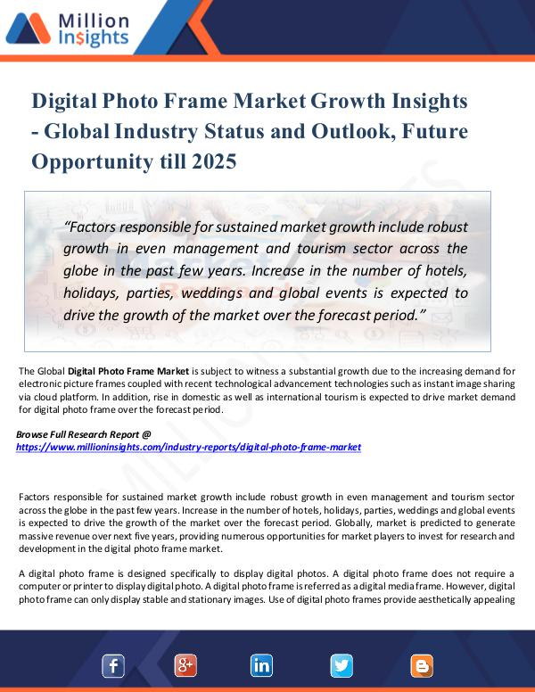 Digital Photo Frame Market Growth Insights -2025