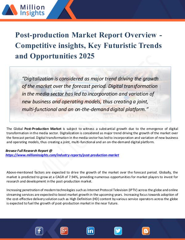 Post-production Market Report Overview - 2025