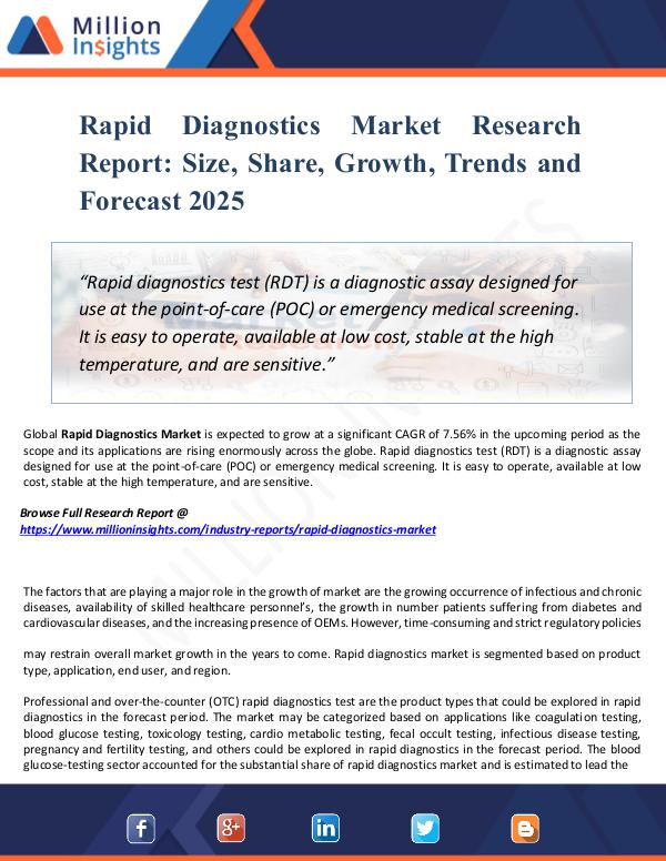 Rapid Diagnostics Market Research Report  Size,