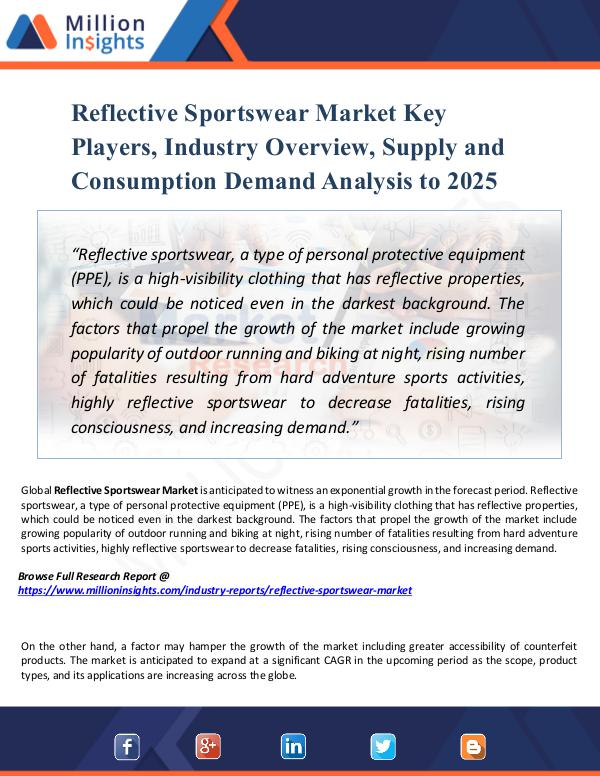 Reflective Sportswear Market Key Players, Industry