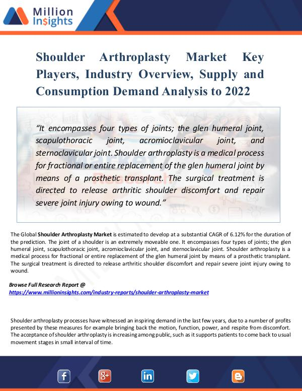 Market New Research Shoulder Arthroplasty Market Key Players, Report