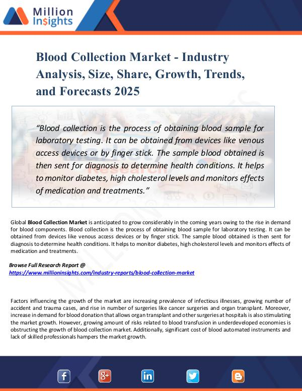 Blood Collection Market - Industry Analysis, Size