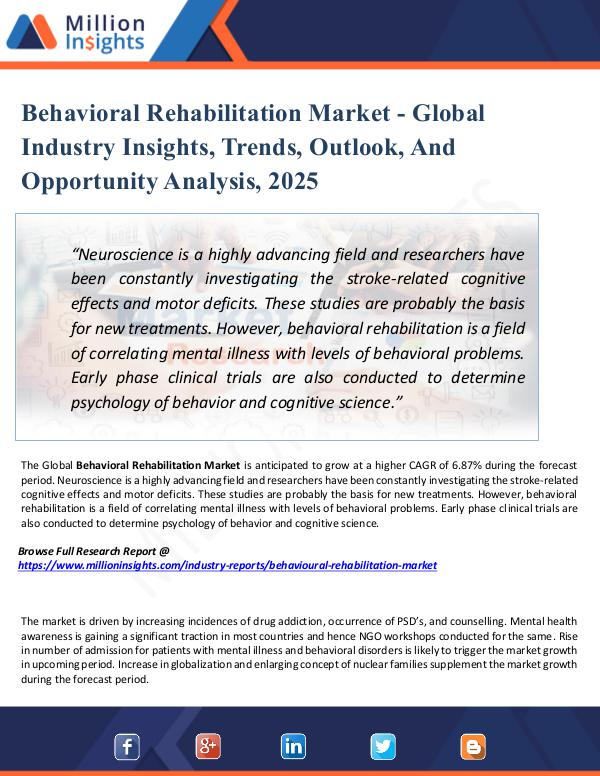 Behavioral Rehabilitation Market - Global Industry